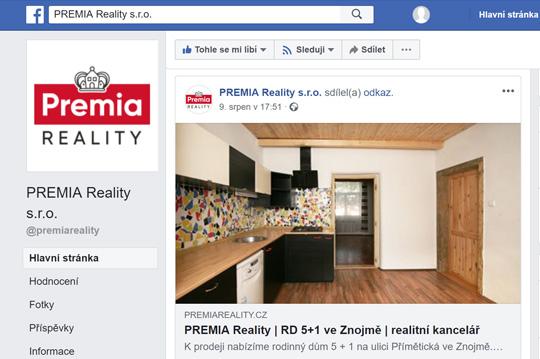 Premia Reality na Facebooku